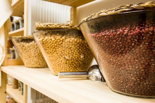 Self service bulk organic food. eco-friendly zero waste shop. small local business. chickpea and beans.
