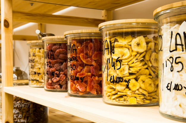 Self service bulk organic food. eco-friendly zero waste shop. small local business. dehydrated banana, strawberry and coco.