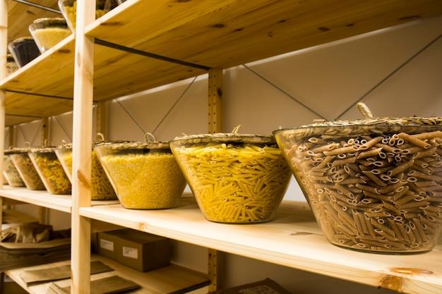 Self service bulk organic food. eco-friendly zero waste shop. small local business. pasta, macaroni and noodles.