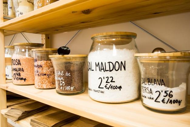 Self service bulk organic food. eco-friendly zero waste shop. small local business. persian blue salt, salt maldon and himalayan pink salt.