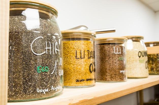 Self service bulk organic food. eco-friendly zero waste shop. small local business. quinoa, chia, golden linen and brown linen.