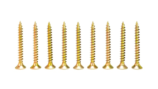 Self-tapping screws for tearing on an isolated white background. materials for construction and repair.