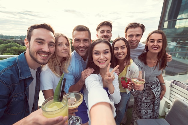 Selfie of friends at a party