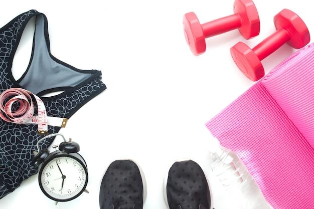 피트 니스 항목 및 스포츠 장비, 건강 및 다이어트 개념 흰색 배경에 피트의 selfie
