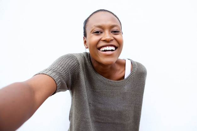 Selfie portrait of smiling young african american woman