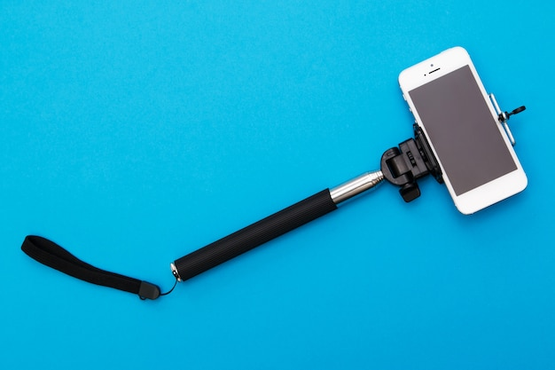 Selfie stick and smart phone