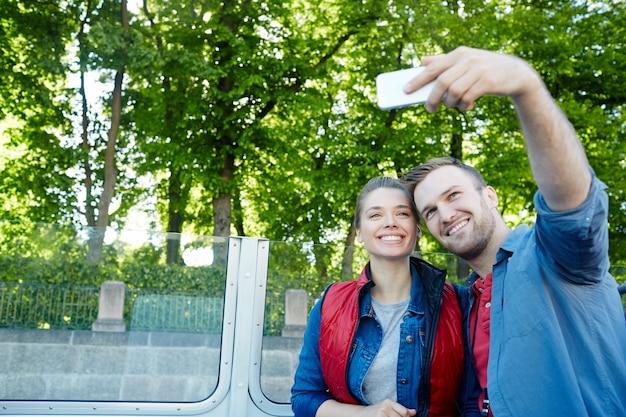 Selfie of travelers