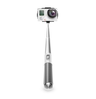 分離されたselfie写真とビデオのアクションカメラと一脚。