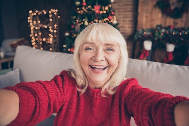 おばあちゃんの自画像は、装飾されたインテリアハウスでお祝いの奇跡の休暇を過ごします