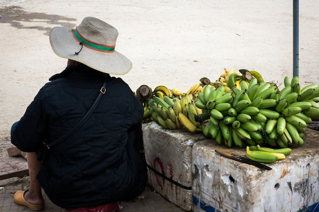 Selling bananas at asian market