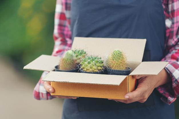 植物をオンラインで販売する。植物のポットでいっぱいの配送ボックスを保持している手を閉じる