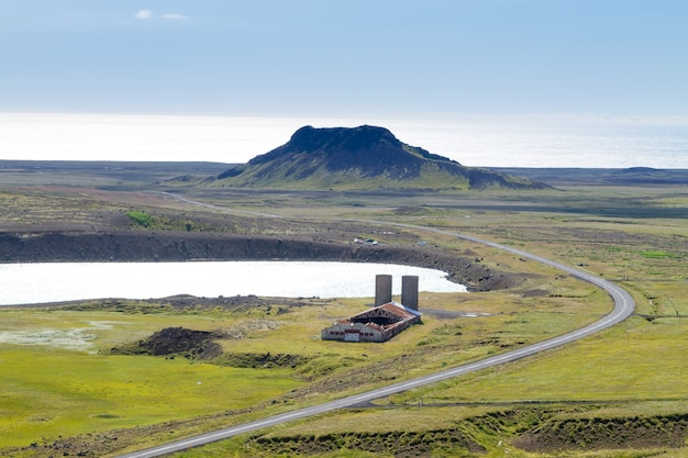 セルトン地域の空中風景、南西半島、レイキャネス、アイスランド。