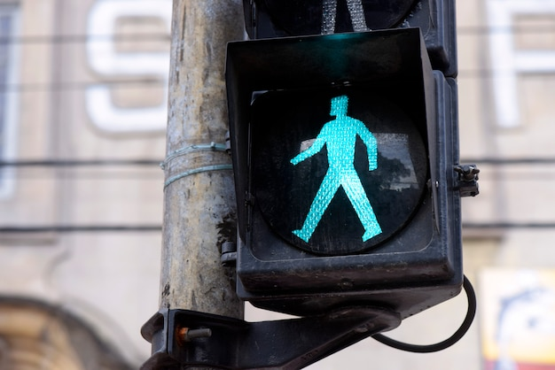 Semaphore on green for pedestrian