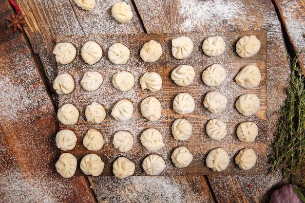 Semi-finished homemade dumplings pelmeni