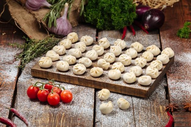 Semi-finished homemade dumplings pelmeni