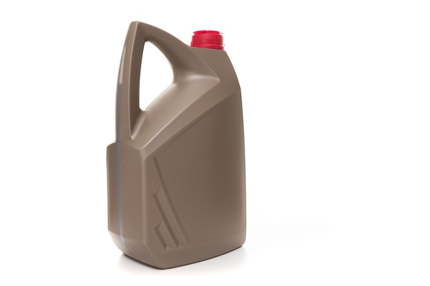 Semi-synthetic motor oil for the engine, side view of the canister