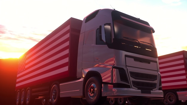 Semi-trailer trucks load or unload at warehouse bays with flag of the usa. american logistics concept. 3d rendering.