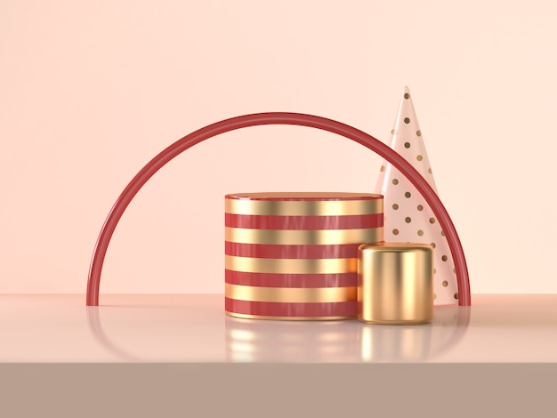 Semicircle red gold cylinder abstract 3d rendering scene