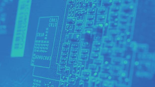 Полупроводниковая микросхема цп, расположенная на зеленой материнской плате компьютера полупроводниковая материнская плата