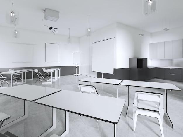 セミナールームまたは教室。 3dレンダリング
