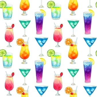 Semless pattern with different colorful summer bright cocktails with fruits. hand drawn watercolor illustration. texture for print, fabric, textile, wallpaper.