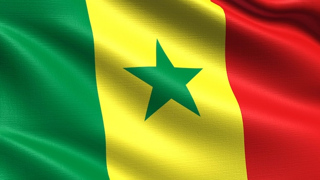 Senegal flag, with waving fabric texture