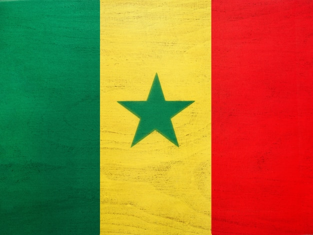Senegalese flag. beautiful greeting card. close up