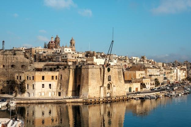 Senglea peninsula in grand bay, valetta, malta