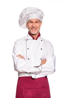 Senior chef smiling