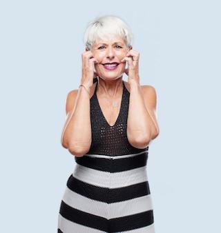 Senior cool woman expressing a concept