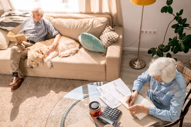 Senior couple counting finances