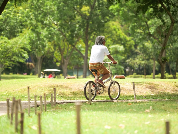 シニアカップルは、公園で巡回する。ヘルスケアの概念。