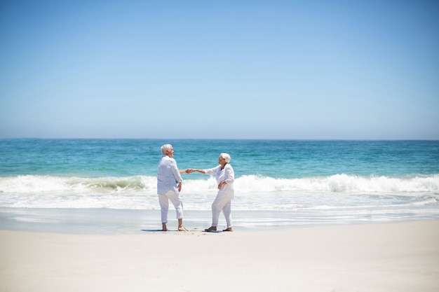 Senior couple dancing at the beach