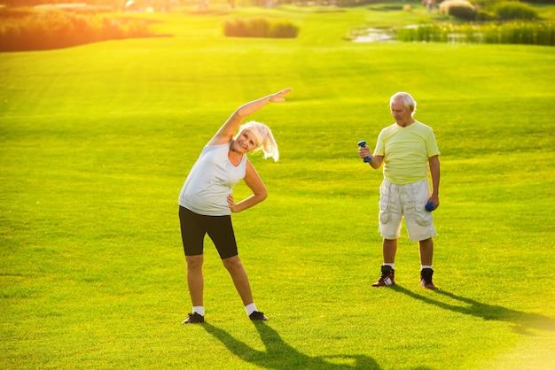 Senior couple doing exercises