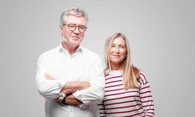 Senior couple expressing a concept