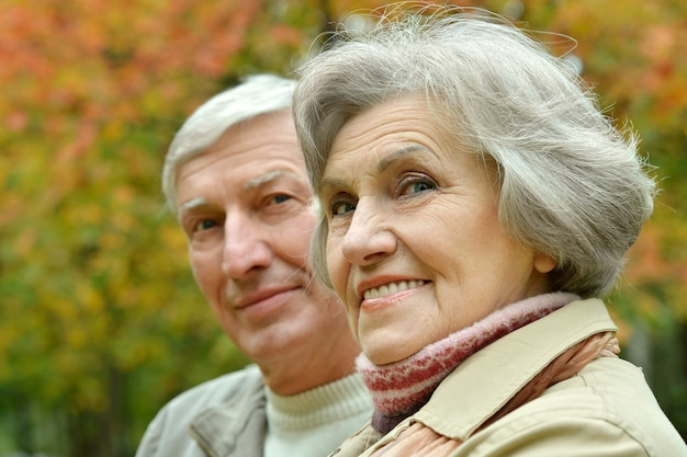 Senior couple have a walk in autumn forest