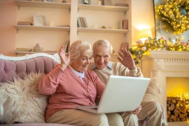 Senior couple having a video call