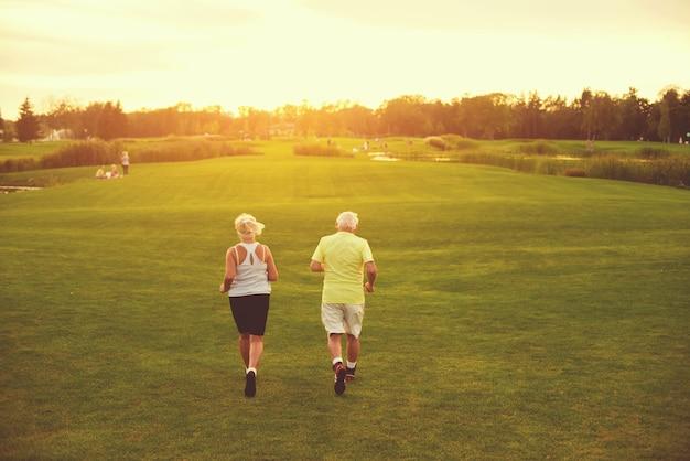 Senior couple is jogging
