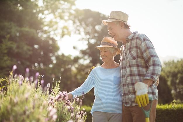 Пожилая пара смотрит на цветы на заднем дворе