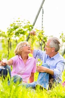 Старшая пара мужчина и женщина на пикнике на летнем лугу, пьют вино в винограднике, он балует свою жену виноградом