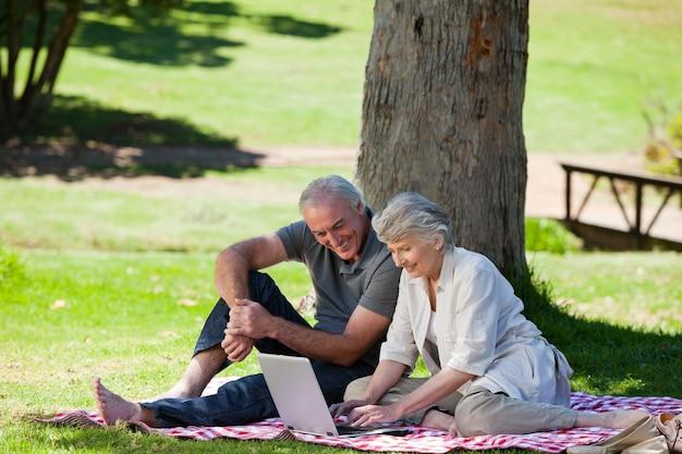 Senior couple  picnicking in the garden