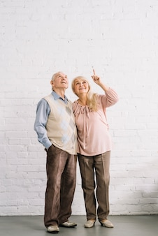 Senior couple pointing up