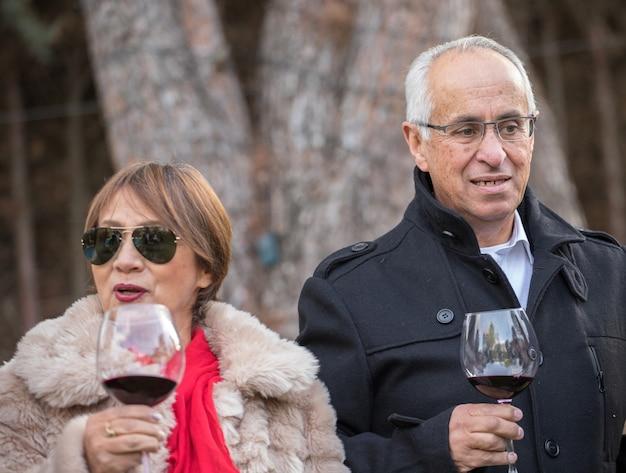 Старшая пара позирует во время вечеринки дома