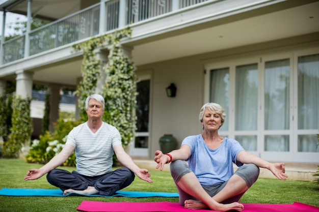 Senior couple practising yoga on exercise mat