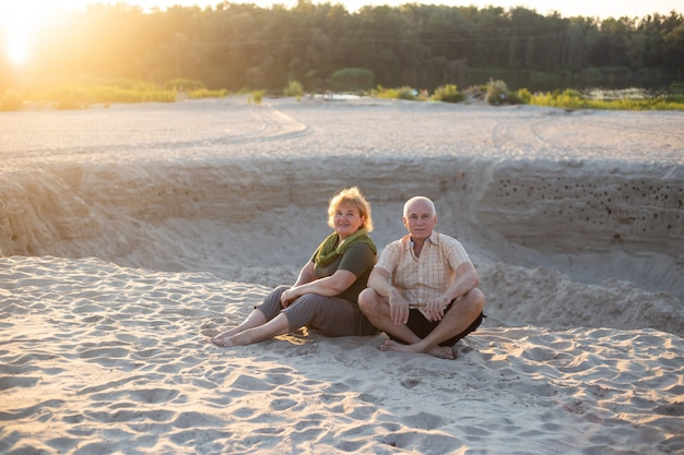 Senior couple relax in summer time. healthcare lifestyle elderly retirement love couple together