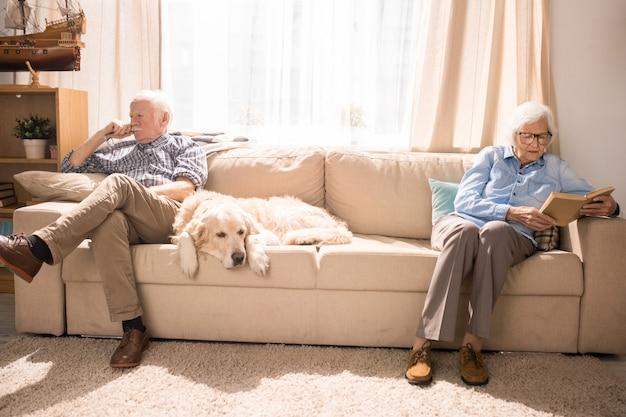 ソファの上の犬と一緒に休んで年配のカップル