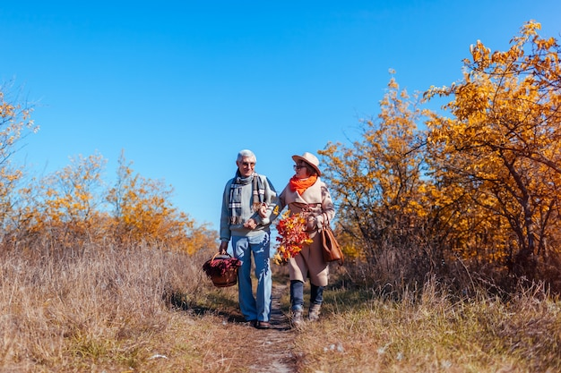 Senior couple walking in autumn forest middle aged man and woman chilling outdoors