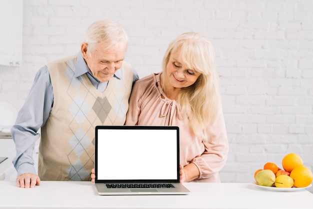 Senior couple with laptop in kitchen