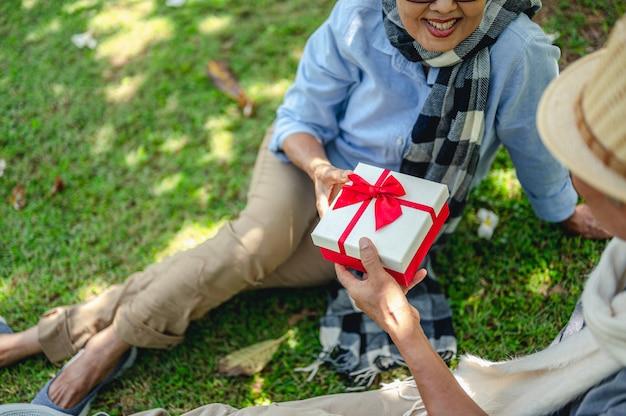 年配のカップルの退職保険高齢者のライフスタイルの概念年配のカップルは贈り物をします