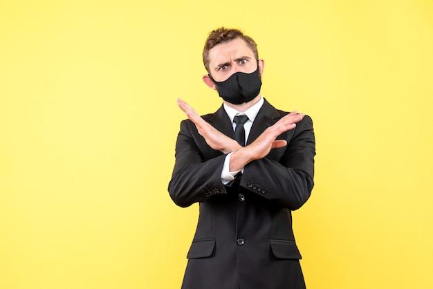 Senior employer making stop gesture